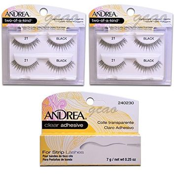 Andrea two of a kind Lashes 21 black (2 Twin) + Strip Lashes Glue Clear 0.25 g