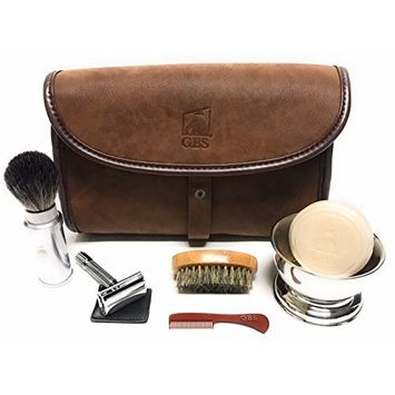GBS Men's Deluxe Grooming Dopp Set Travel Shave Brush Pure Badger Bristles, Butterfly Double Edge Safety Razor, Stainless Shaving Bowl + Soap, Beard Brush & Mustache Comb Hanging Folding Toiletry Bag