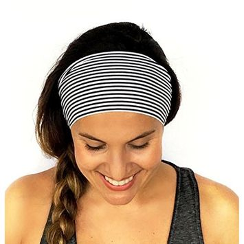 Binmer(TM) Ladies Stripe Sports Yoga Sweatband Gym Stretch Headband Hair Band