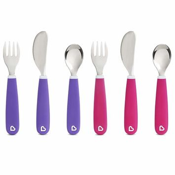 Munchkin Splash Toddler Fork, Knife and Spoon Set, 6 Pack, Pink/Purple