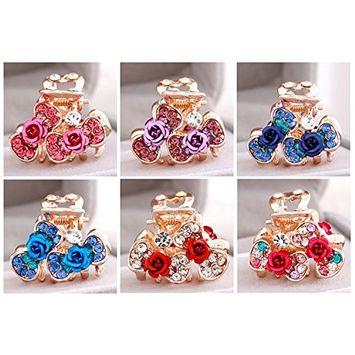 6 PCS Lovely Charm 6pcs Wedding Bridal Party Diamante Faux Prom Pearl Flower Rhinestone Rose heart-shaped love Crystal Hair Bridesmaid Clips