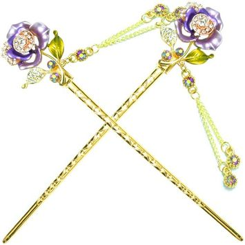 YOY Fashion Hair Decor Chinese Traditional Style Hair Sticks Shawl Pins Picks Pics Forks for Women Girls Hair Accessory 6-inch with Enamel Flower Set of 2, Purple