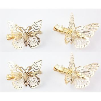 Detroital 4 Pack Hollow Out Metal Alloy Butterfly Hair Clip Hair Accessories Silver [silver]