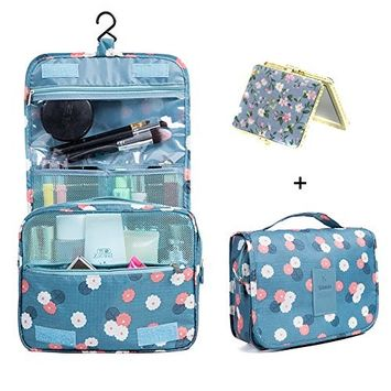 Hanging Cosmetic Bag Makeup Bag Travel Toiletry Bags, Large Capacity Travel Case make up Brushes Pouch Toiletry Kit Organizer Blue Floral Bag