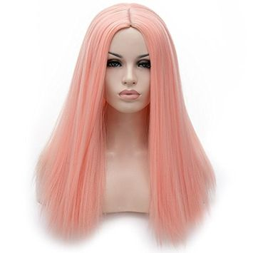 Menoqi Pink Hair Wigs for Women Straight Synthetic Wigs with Wig Cap COS005PK