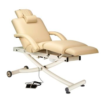 Earthlite Ellora Vista Salon Top Massage Table with Sumptuous Natursoft Upholstery and Accompanying Accessories, White, 73L x 32W x 18-37H in. - White, 73L x 32W x 18-37H in.