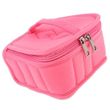 Homyl Portable Zipper Tote Belt Essential Oils Storage Bag Travel Case HOLD 13PCS 15ML BOTTLES for Cosmetic Liquid Vials Perfume Essential Oils Massage Oils - Five Colors - Pink