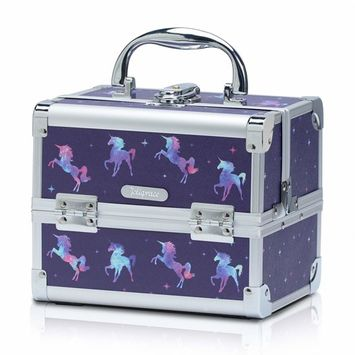 Joligrace Makeup Train Case for Girls Cosmetic Box Jewelry Organizer Storage Trays with Mirror (Unicorn)