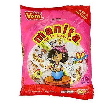 Vero Manita Paletas Sabor Fresa Mexican Hard Candy Chili Pops 40 Pc [Manita]