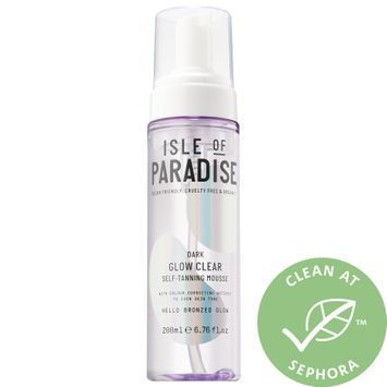 Isle of Paradise Glow Clear, Color Correcting Self-Tanning Mousse Dark 6.76 oz/ 200 mL