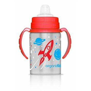 organicKidz Blast Stainless Steel 2-in-1 Sippy Water Bottle, Red/Blue, 9 Ounce