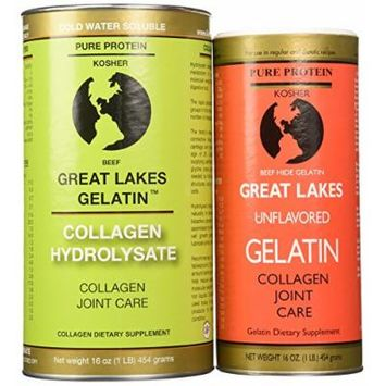 Great Lakes Gelatin, Kosher, 16-Ounce Cans of Unflavored & Collagen Hydrolysate