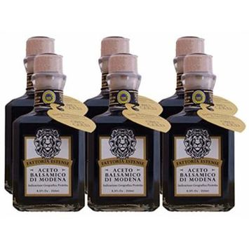 Fattoria Estense Square Bottle 12 Year Old Balsamic Vinegar (Case of 6 - 8.5 Ounce Bottles)