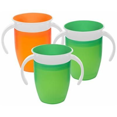 Munchkin Miracle 360 Degree 7 Ounce Spoutless Trainer Cup, 3 Pack, Orange/Green/Green
