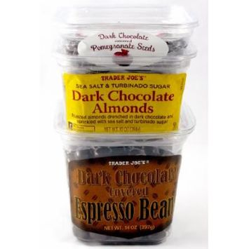 Trader Joe's Dark Chocolate Covered Espresso Beans, Dark Chocolate Covered Pomegranate Seeds, and Sea Salt and Turbinado Sugar Dark Chocolate Almonds - 3 Items Total