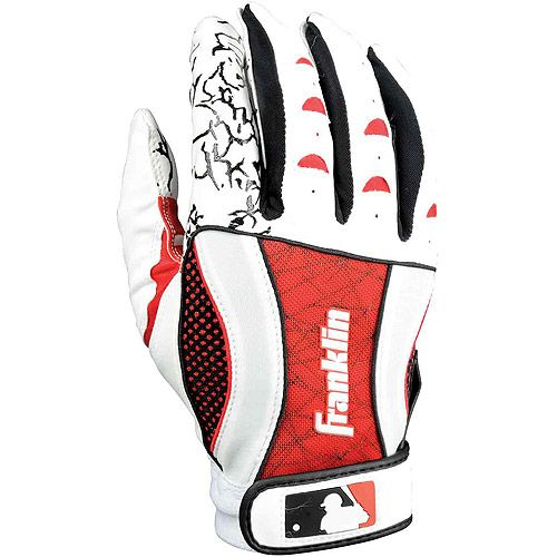 Franklin Sports Adult Insanity Batting Glove, White and Red