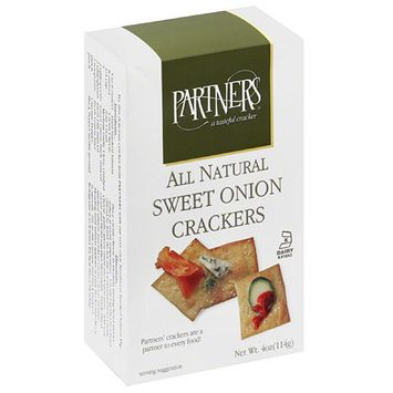 Partners All Natural Sweet Onion Snack Crackers, 4 oz (Pack of 6)