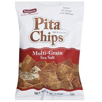 Kangaroo Multi-Grain Sea Salt Pita Chips, 6 oz, (Pack of 12)