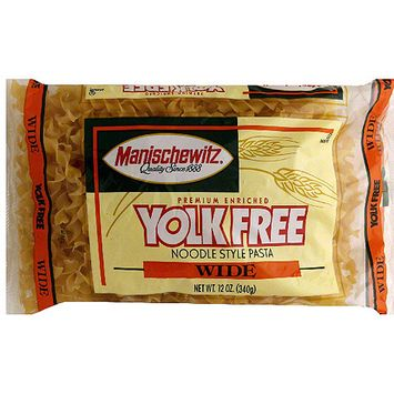 Manischewitz Wide Yolk Free Noodle Style Pasta, 12 oz (Pack of 12)