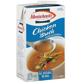 Manischewitz Reduced Sodium Chicken Broth, 32 oz (Pack of 12)
