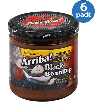 Arriba! Black Bean Dip, Medium Chipotle, 16 oz, (Pack of 6)