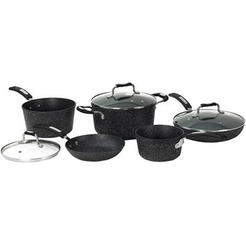 Starfrit Cookware Sets The Rock 8-Piece Aluminum Cookware Set with Bakelite Handles in Black 030930-001-0000