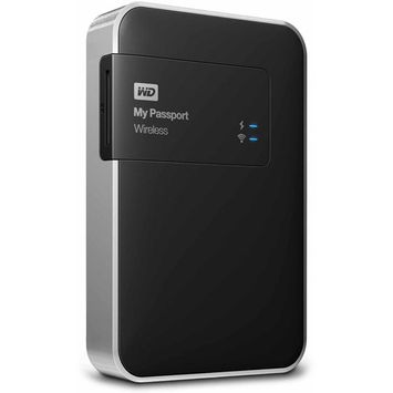 Wd - My Passport 1TB External USB 3.0 Wireless Portable Hard Drive - Black