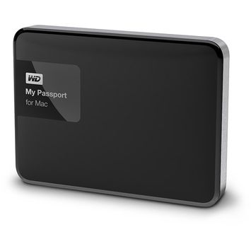 Wd - My Passport For Mac 1TB External USB 3.0/2.0 Portable Hard Drive - Black