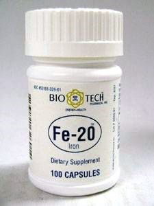 Fe-20 Ferrous Gluconate 20 mg 100 caps by Bio-Tech