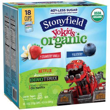 Stonyfield Yokids® Strawberry Vanilla & Blueberry Organic Squeezers® Lowfat Yogurt 1 Cups
