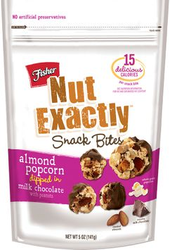 FISHER NUT EXACTLY® Snack Bites - Almond Popcorn dipped in Milk Chocolate