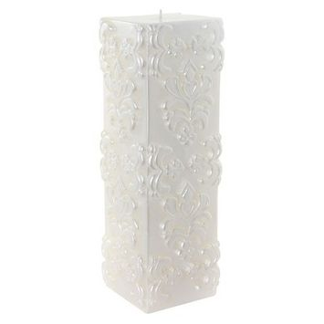 Ivy Lane Designs Ivy Lane Design Carved White Damask Pillar Candle, 9