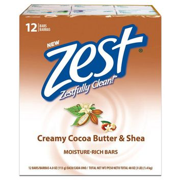 Zest Creamy Cocoa Butter & Shea Moisture Rich Soap Bars - 12 Count