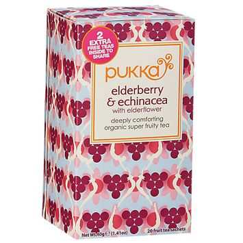 Pukka Herbs - Organic Herbal Tea Elderberry & Echinacea with Elderflower - 20 Tea Bags