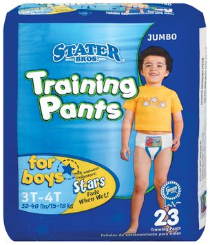 Stater bros Boys 3t to 4t 3 Jumbo Pack Training Pants 23 Ct Bag