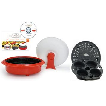 Microhearth C11RC4 Microhearth 4pc Everyday Pan for Microwaves- Red