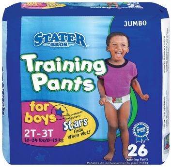 Stater bros Boys 2t to 3t 1 Jumbo Pack Training Pants 26 Ct Bag
