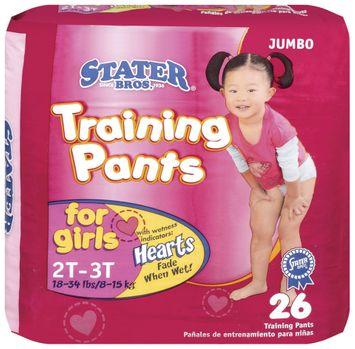 Stater bros Girls 2t to 3t 1 Jumbo Pack Training Pants 26 Ct Bag