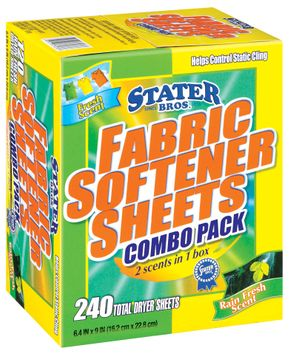 Stater Bros. Combo Pack Fabric Softener Sheets 240 Ct Box
