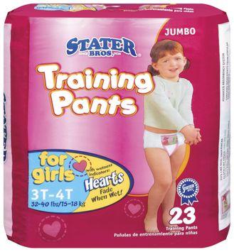 Stater bros Girls 3t to 4t 3 Jumbo Pack Training Pants 23 Ct Bag