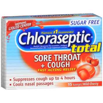 Chloraseptic Total Sore Throat + Cough Lozenges Sugar Free Wild Cherry
