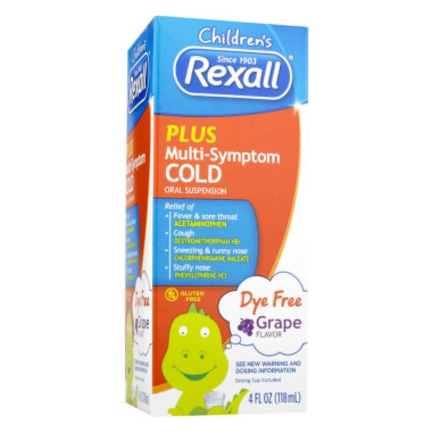 Rexall Children's Plus Multi-Symptom Cold Dye Free - Grape, 4 oz