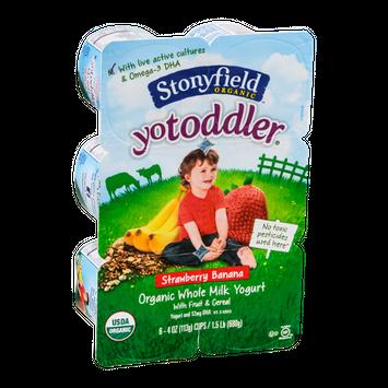 Stonyfield Organic YoToddler Organic Whole Milk Yogurt Strawberry Banana - 6 CT