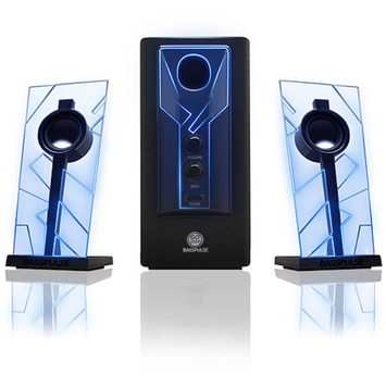 Accessory Power GOgroove BassPULSE Glowing Blue LED Computer Speaker Sound System - Works with Dell, ASUS, Lenovo, Apple, Alienware and More Desktops, Laptops, Gaming Towers and Steam Consoles