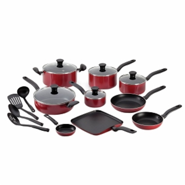 T-Fal A777si64 Initiatives 18-Piece Cookware Set, Red, 1 ea