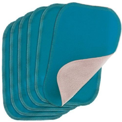 Blueberry by Swaddlebees 6 Piece Baby Cloth Wipes, Aqua