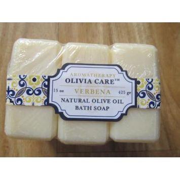 Olivia Care Natural Olive Oil Verbena Bath Soaps Set of 3 - 15 Oz Total