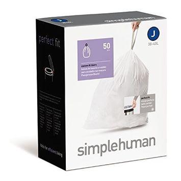 simplehuman Custom Fit Trash Can Liner J, 30-40 L / 10-10.5 Gal, 50-Count Box