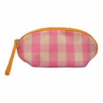 Clinique Pink White Check Wristlet Cosmetic Makeup Bag