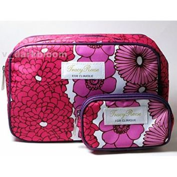 Clinique Tracy Reese Floral Cosmetics Makeup Bag with Full-access Zippers